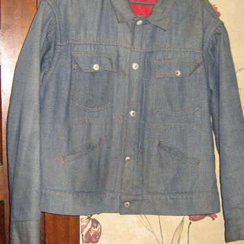 Vintage 50s Ranchcraft jcp  co Pleated Denim Jacket red lining