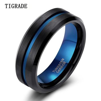 TIGRADE 8mm Blue&Black Men Ring Fashion Blue Line Tungsten Ring Wedding Engagement Tungsten Carbide Rings for Men Jewelry