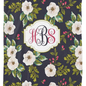 Floral Nursery Baby Blanket MONOGRAM Personalized Soft Baby Blanket Nursery Fleece Blanket Home Decor Bedding Wedding Shower Gift