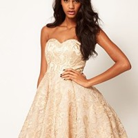 Opulence England Metallic Embroidered Lace Skater Dress at asos.com