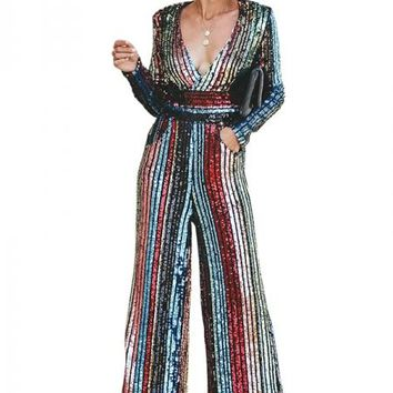 Pop The Deep V Neck Pocketed Sequin Jumpsuit