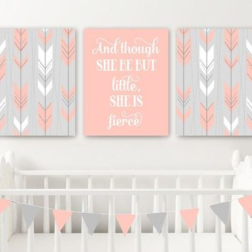 Arrow Boho Tribal Nursery Decor, Girl Tribal Boho Nursery Wall Art, Girl Nursery Quote Canvas or Prints, But Little She is Fierce, Set of 3