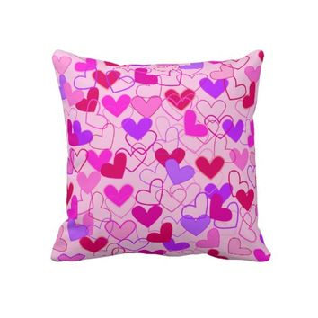 Cute Girly Pink Purple & Red Hearts Abstract Pattern Throw Pillow-  Cute pillows, Valentine's Day pillows-  home decor, for girls,for teens