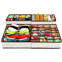 4PCS Hot Selling Nonwoven Storage Box Container Drawer Divider Lidded Closet Boxes For Ties Socks Bra Underwear Organizer