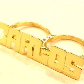 Personalized 14k Gold Overlay Any Name 2 Finger Ring/two Finger Name Ring/block