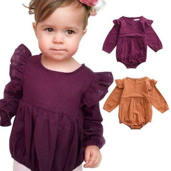 Newborn Infant Long Sleeve Romper Jumpsuit Baby Girl Kid Bodysuit Autumn Outfits