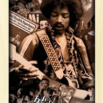 JIMI HENDRIX ~ SEPIA CAREER COLLAGE MUSIC POSTER Rock Guitar NEW/ROLLED!40*60