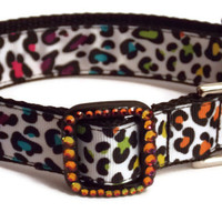 Dog Collar - Rainbow Cheetah with Swarovski Crystal - Ribbon