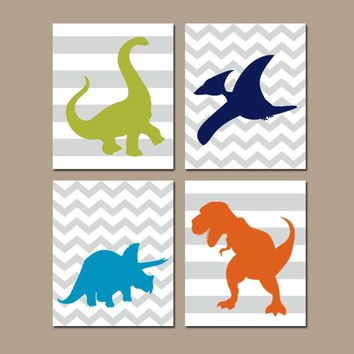 DINOSAUR Wall Art  Dinosaur Theme Room  Canvas or Prints  Dinosaur Decor  Big Boy Room Wall Decor  Silhouette Chevron Dinosaurs  Set of 4