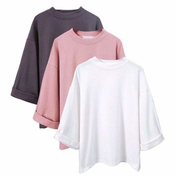 Fashion Women's High Collar 3/4 Sleeve T-shirt Blouse Casual Loose T-Shirt Tops
