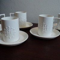 Portmeirion Totem white set of 5 cups and by valeriesvintagehome