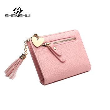 SHANSHUI Short Solid Women Wallets PU Leather Womens Wallet Zipper Design With Coin Purse Pockets Mini Walet Clutch Carteras