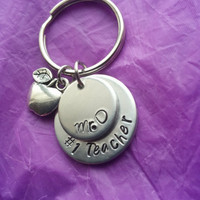 Personalized Teacher Keychain - Teacher Appreciation - Best Teacher - Gift for a Professor - Elementary School - Stacked Disc - Custom