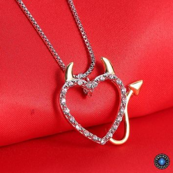 Two Tone Gold and Silver Plated Devil Sweetheart Pendant Necklace