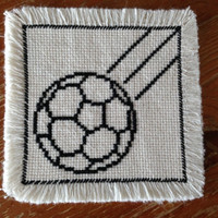 Glass coaster Drink coaster Handmade fabric coaster Square coaster Soccer ball black and white coaster Sports theme
