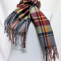 Red and Yellow Wool Men's Scarf, Red and Yellow Scarf, Plaid Red and Yellow Scarf - KR1411087