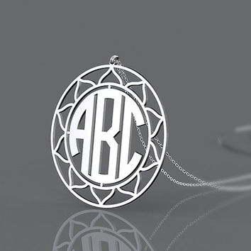 Silver letter name necklace with 925 sterling silver-- 1.5 inch monogram personalized present