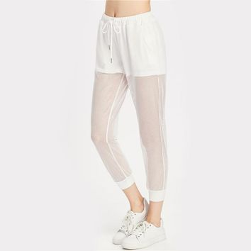 2 In 1 Fishnet Sweatpants White Drawstring Waist