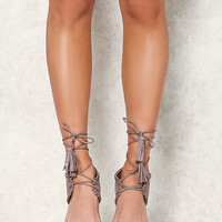 Taupe Suedette Stitched Lace Up Heels