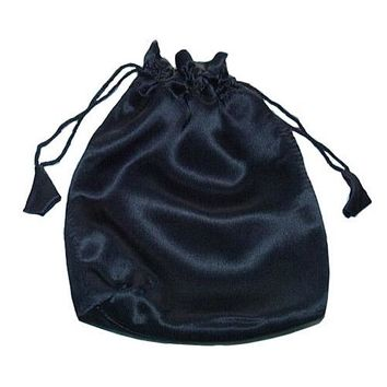 100% Silk Charmeuse Black Drawstring Pouch