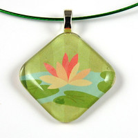 Smooth Glass Tile Pendant with Water Lily Motif on a Green Wire Necklace