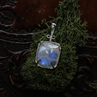 Wire Wrapped Rectangular Rainbow Moonstone Pendant
