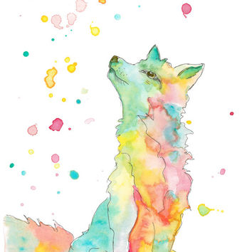 Watercolor fox, colorful fox, sitting fox illustration, wolf painting 8x10 print, drip painting, woodland creatures art, animal art