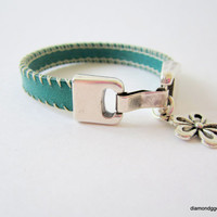 Stitched Leather Bracelet Cowgirl Jewelry Southwestern Style Leather Cuff Turquoise Western Flat Leather Cuff  Women's Leather Bracelet