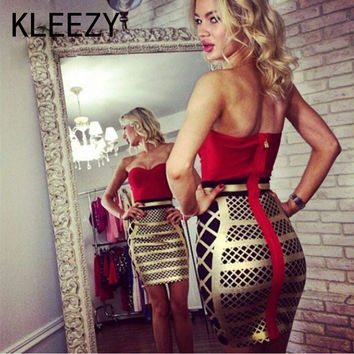 Elegant Red And Gold Patchwork Sexy Prom Dress