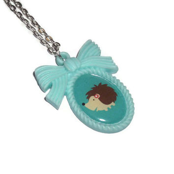 Mint Green Hedgehog Necklace, Kawaii Cameo Necklace