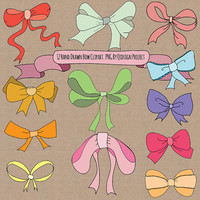 BUY2GET1FREE Hand drawn bow clipart, doodle bow clipart,scrapbooking, wedding invitation, personal and commercial use, instant download