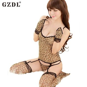 Leopard Lingerie Babydoll Garter Belt and G-String with Gloves and Stockings