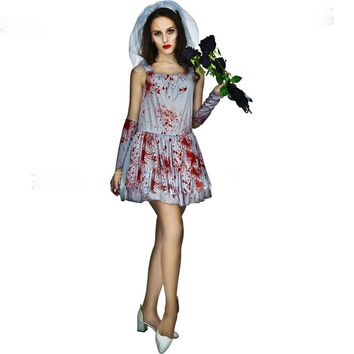 Halloween Masquerade New Ghost Bride Blood Stains Costume Cosplay Cosplay Horror Costume Party Vampire White Dress