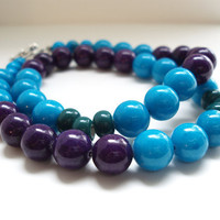 Color Block Necklace, Beaded Necklace, Blue, Purple, Green