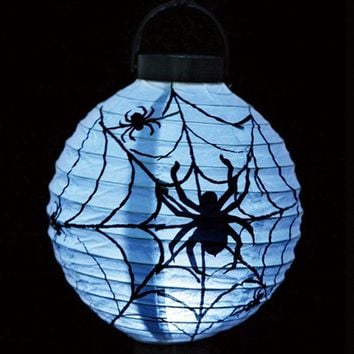 Free Shipping Halloween Pumpkin LED Light Luminous Hand-held Paper Lantern Portable Festival Props Ghost Party Light Decorations