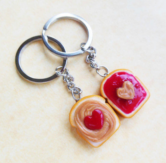 strawberry jam hearts peanut butter and jelly key chains key rings ...
