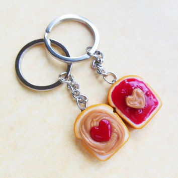 strawberry jam hearts peanut butter and jelly key chains key rings best friend bff kawaii