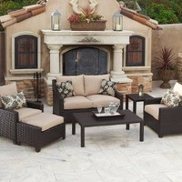RST Outdoor Delano Deep Seating Love Seat, Club Chairs, Coffee and End Table Set Patio Furniture, 6-Piece