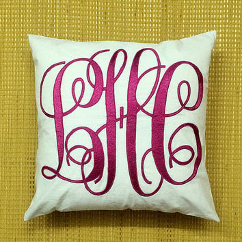 Monogram Pillow DecorativeThrow Pillow Personalized Custom Made Letter Housewarming Dorm Decor Wedding Baby Gift All Sizes & Colors