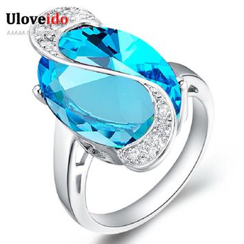 Uloveido 50% off Wedding Rings for Women Costume Jewelry Engagement Crystal Ring Female Blue Rainbow Ring Infinity New Year J195