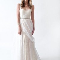 Princess Boho lace Wedding Dress with straps Organza skirt Gathered Waist