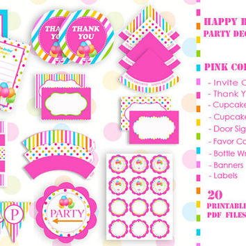 HAPPY BIRTHDAY Party Decorations - Pink Collection - PDF Files -Printable Set - Non Customized - High Quality 300 dpi