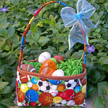 Quilted Fabric Easter Basket  Baseball theme - Storage Basket by Quilting Frenzy