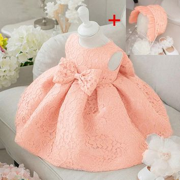 Flower Toddler Baby Girl Infant Princess Dress Baby Girl Wedding Dress+hat 2pcs lace tutu Kids Party Vestidos for 1st birthday