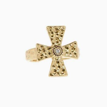 The Hammered Cross Signet Ring - Gold
