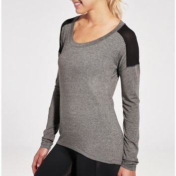 CALIA Women's Mesh Racerback Heather Long Sleeve Shirt