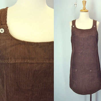 Brown Corduroy Jumper / Vintage Warm Corduroy Dress / Wide Wale / M