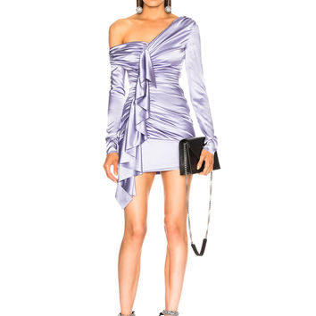 Alexandre Vauthier Asymmetrical Shoulder Ruffle Dress in Lilac | FWRD