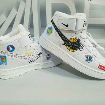 """Nike Air Force 1"" Unisex Casual Fashion Pattern High Help Plate Shoes Couple Sneakers"
