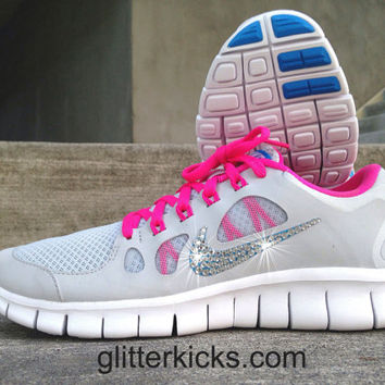 Womens Nike Free Run 5.0 Running Training Jogging Shoes Customized with Swarovski Elements Crystal Rhinestones - New in Box - Pink Gray Blue